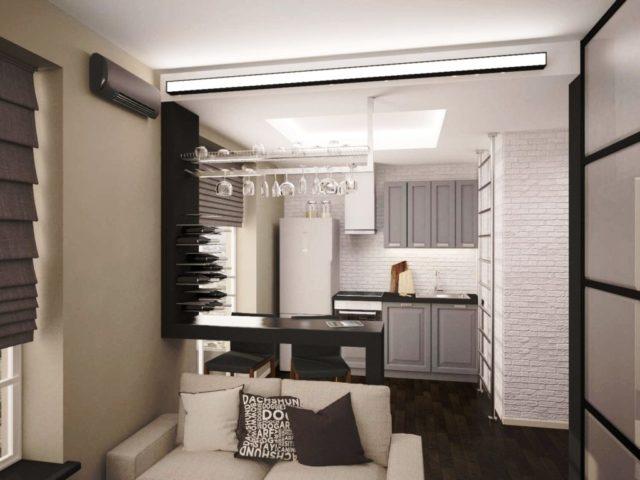 Кухня-гостиная в хрущевке: грамотное зонирование + удачные фото примеры