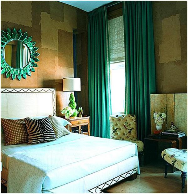 Зеленые шторы в спальню: дизайн интерьера, советы по выбору + фото