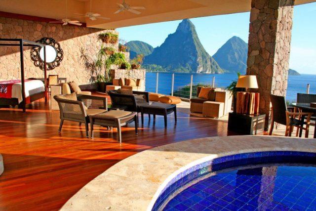 Jade Mountain - отель на Карибском море