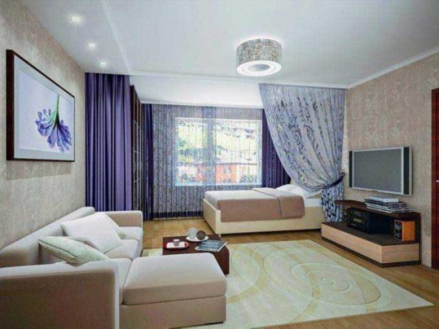 Зонирование комнаты на спальное место и гостинную