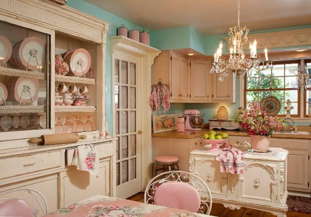 Стиль шебби-шик в интерьере кухни: нежный и романтичный дизайн + фото