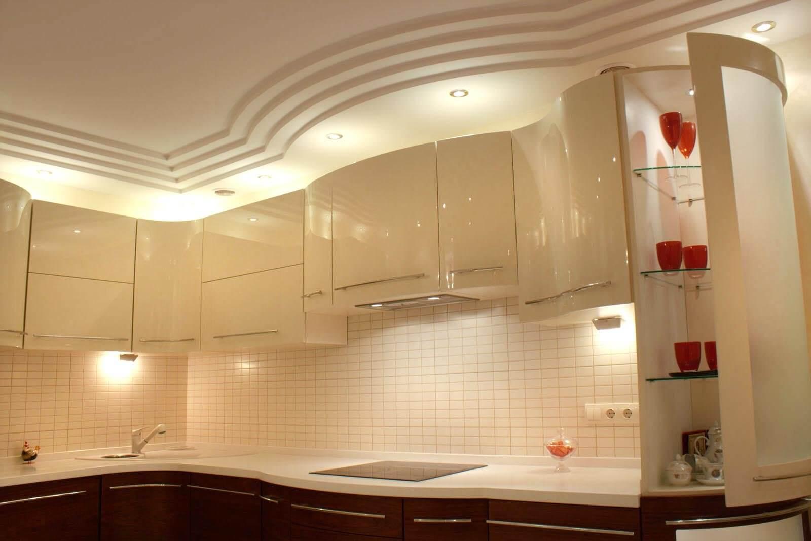 оригинальный потолок из гипсокартона на кухне фото